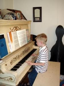 A at piano